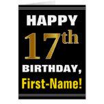 [ Thumbnail: Bold, Black, Faux Gold 17th Birthday W/ Name Card ]