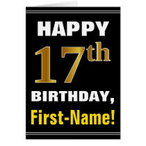 Bold, Black, Faux Gold 17th Birthday w/ Name Card