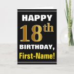 [ Thumbnail: Bold, Black, Faux Gold 18th Birthday W/ Name Card ]