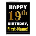 [ Thumbnail: Bold, Black, Faux Gold 19th Birthday W/ Name Card ]