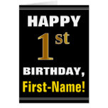 [ Thumbnail: Bold, Black, Faux Gold 1st Birthday W/ Name Card ]