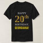 [ Thumbnail: Bold, Black, Faux Gold 20th Birthday W/ Name Shirt ]