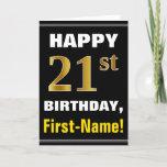 [ Thumbnail: Bold, Black, Faux Gold 21st Birthday W/ Name Card ]
