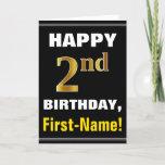 [ Thumbnail: Bold, Black, Faux Gold 2nd Birthday W/ Name Card ]