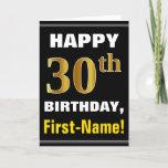 [ Thumbnail: Bold, Black, Faux Gold 30th Birthday W/ Name Card ]