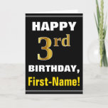 [ Thumbnail: Bold, Black, Faux Gold 3rd Birthday W/ Name Card ]