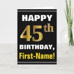 [ Thumbnail: Bold, Black, Faux Gold 45th Birthday W/ Name Card ]