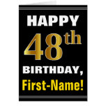 [ Thumbnail: Bold, Black, Faux Gold 48th Birthday W/ Name Card ]