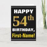 [ Thumbnail: Bold, Black, Faux Gold 54th Birthday W/ Name Card ]