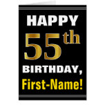[ Thumbnail: Bold, Black, Faux Gold 55th Birthday W/ Name Card ]