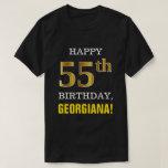 [ Thumbnail: Bold, Black, Faux Gold 55th Birthday W/ Name Shirt ]