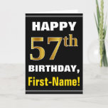 [ Thumbnail: Bold, Black, Faux Gold 57th Birthday W/ Name Card ]