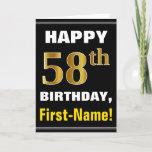 [ Thumbnail: Bold, Black, Faux Gold 58th Birthday W/ Name Card ]