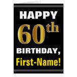 [ Thumbnail: Bold, Black, Faux Gold 60th Birthday W/ Name Card ]