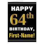 [ Thumbnail: Bold, Black, Faux Gold 64th Birthday W/ Name Card ]