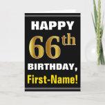 [ Thumbnail: Bold, Black, Faux Gold 66th Birthday W/ Name Card ]