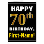 [ Thumbnail: Bold, Black, Faux Gold 70th Birthday W/ Name Card ]