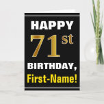 [ Thumbnail: Bold, Black, Faux Gold 71st Birthday W/ Name Card ]