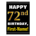 [ Thumbnail: Bold, Black, Faux Gold 72nd Birthday W/ Name Card ]