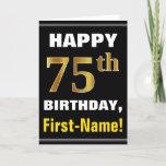 [ Thumbnail: Bold, Black, Faux Gold 75th Birthday W/ Name Card ]