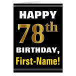 [ Thumbnail: Bold, Black, Faux Gold 78th Birthday W/ Name Card ]