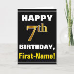 [ Thumbnail: Bold, Black, Faux Gold 7th Birthday W/ Name Card ]