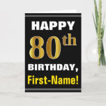 [ Thumbnail: Bold, Black, Faux Gold 80th Birthday W/ Name Card ]