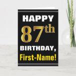 [ Thumbnail: Bold, Black, Faux Gold 87th Birthday W/ Name Card ]