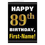 [ Thumbnail: Bold, Black, Faux Gold 89th Birthday W/ Name Card ]