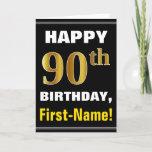 [ Thumbnail: Bold, Black, Faux Gold 90th Birthday W/ Name Card ]