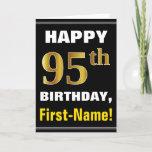 [ Thumbnail: Bold, Black, Faux Gold 95th Birthday W/ Name Card ]