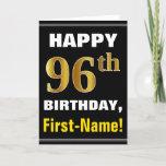 [ Thumbnail: Bold, Black, Faux Gold 96th Birthday W/ Name Card ]