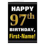 [ Thumbnail: Bold, Black, Faux Gold 97th Birthday W/ Name Card ]