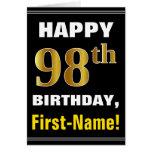 [ Thumbnail: Bold, Black, Faux Gold 98th Birthday W/ Name Card ]