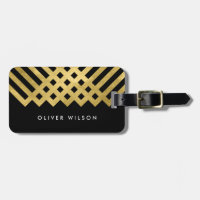 Bold Black Faux Gold Geometric Luggage Tag