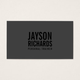 Bold Black/Gray Personal Trainer Business Card