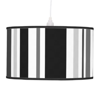 Bold Black, Gray, White Stripes Hanging Lamp