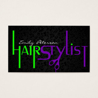 Bold Black Green And Purple Hair Stylist Text Business Card