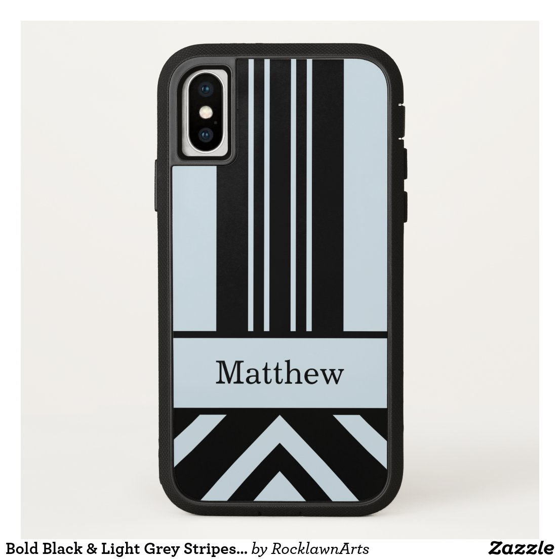 Bold Black & Light Grey Stripes Chevrons–Your Name iPhone X Case