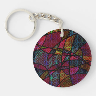 Bold Black Lines & Multicolored, Abstract Textures Keychain