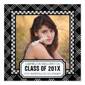 Bold Black Modern Photo Graduation Party 5.25x5.25 Square Paper Invitation Card
