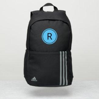 Bold Black Monogram on Bright Blue Circle Adidas Backpack