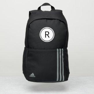 Bold Black Monogram on White Circle Adidas Backpack