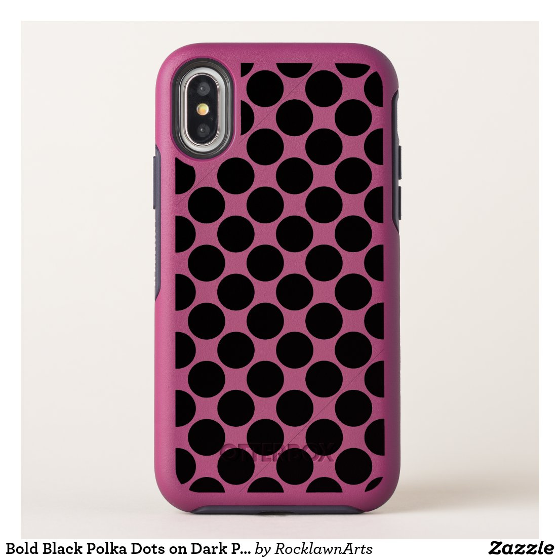 Bold Black Polka Dots on Dark Pink OtterBox Symmetry iPhone X Case