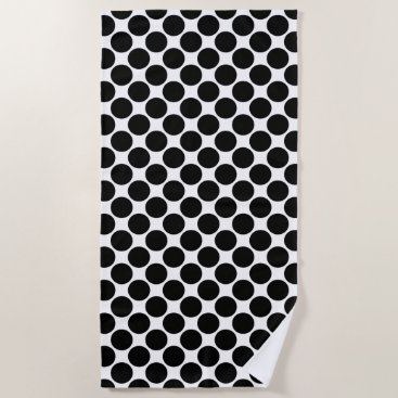 Beach Themed Bold Black Polka Dots on White Beach Towel