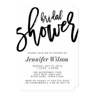 Bold Black Script Modern Bridal Shower Invitations
