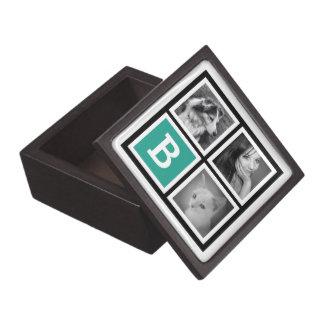Bold Black Teal with Monogram 3 Instagram Pics Keepsake Box