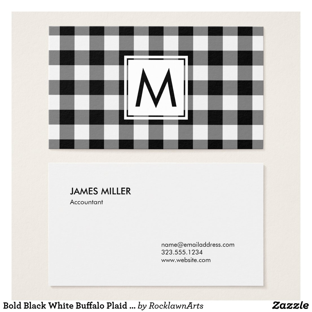 Bold Black White Buffalo Plaid Pattern Monogram Business Card
