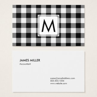 Bold Black White Buffalo Plaid Pattern Monogram Business Card