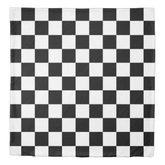 Bold Black White Checkered Pattern Reversible Duvet Cover